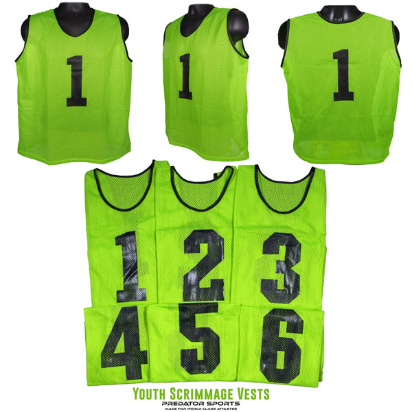 Predator Sports Youth Numbered Scrimmage Vests- Set of 6