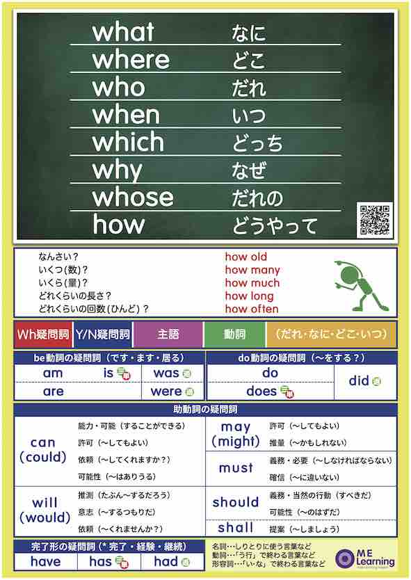 Wh and Pronoun Poster Set - WhとPronounポスターセット  A1サイズ