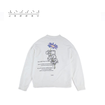 Purple Daisy Sweatshirt White