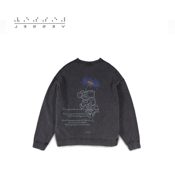 Purple daisy Sweatshirt Black