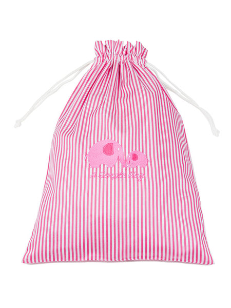 Clothes bag, dark pink stripes