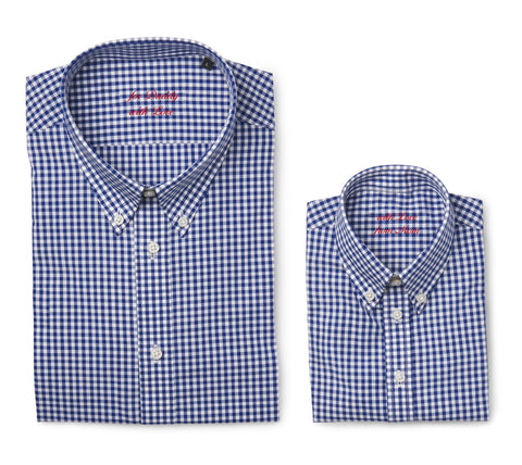 Father & son shirt with embroidered message, dark blue checks