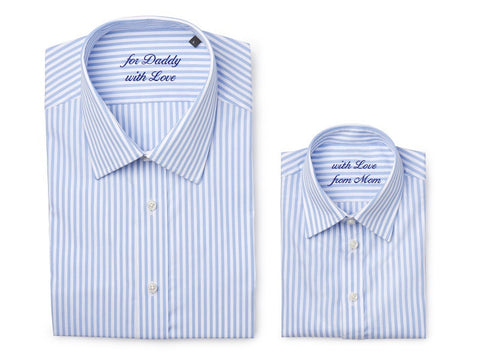Father & son shirt with embroidered message, light blue stripes