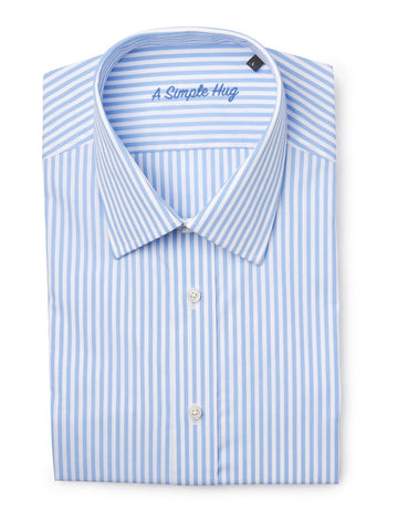 Men shirt, regular fit, light blue stripes