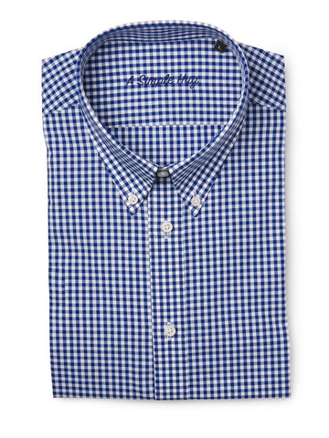 Men shirt, slim fit, dark blue checks