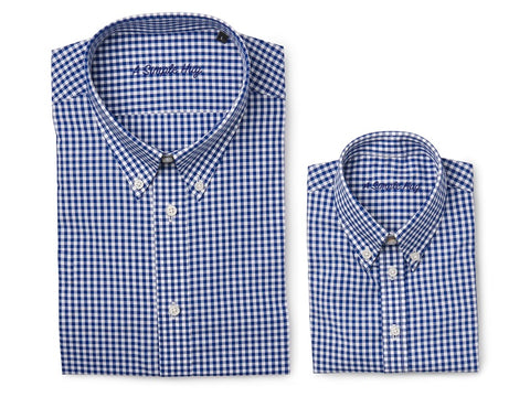 Set: matching shirts for father and son, dark blue checks