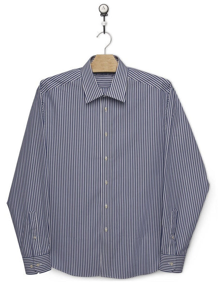Men shirt, regular fit, dark blue stripes