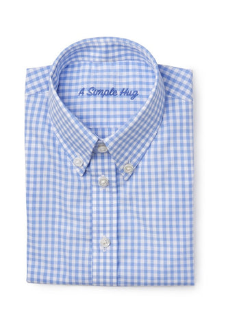 Boy shirt, regular fit, light blue checks