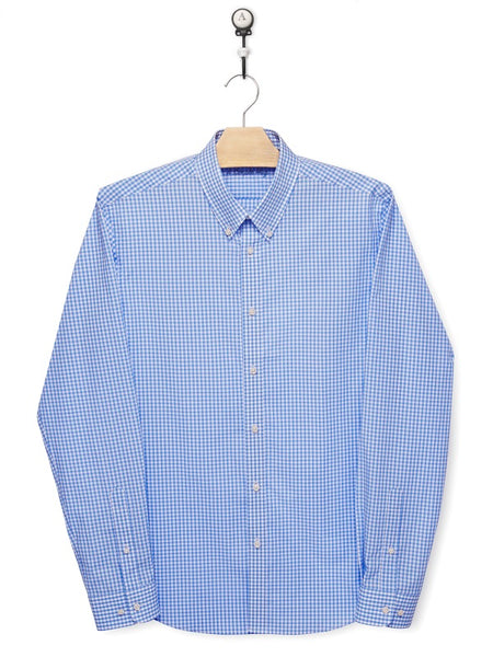 Men shirt, slim fit, light blue checks