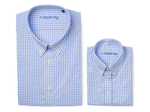 Set: matching shirts for father and son, light blue checks