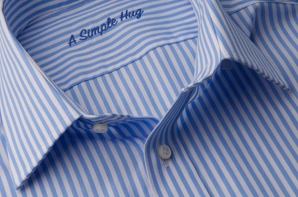 Set: matching shirts for father and son, light blue stripes