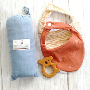 baby wrap, bibs and teether