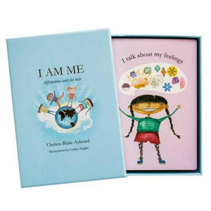 box-of-kids-affirmation-cards-lid-off-displaying-first-card-I-talk-about-my-feelings