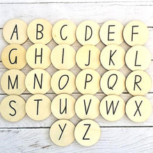 Load image into Gallery viewer, alphabet-uppercase-wooden-discs