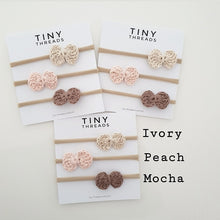Load image into Gallery viewer, ivory-peach-mocha-baby-crochet-headbands