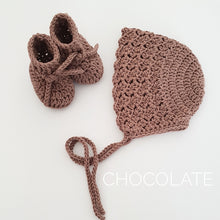 Load image into Gallery viewer, chocolate-knitted-baby-booties-and-bonnet