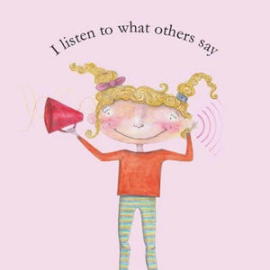 affirmation-card-with-illustration-of-girl-with-megaphone-I-listen-to-what-others-say