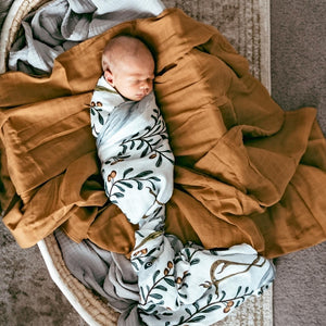 baby-boy-asleep-in-bassinet-wrapped-in-baby-swaddles