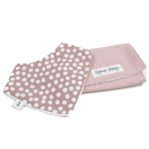 handmade spotted bib and pink burp cloth