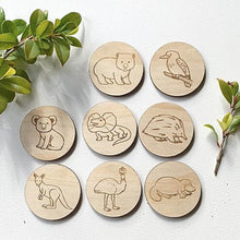 Load image into Gallery viewer, wooden-discs-aussie-animal-memory-match