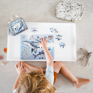 aerial-view-of-boy-at-table-completing-an-ocean-puzzle-surrounded-by-coral-and-shells