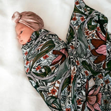 Load image into Gallery viewer, baby-girl-with-head-turban-swaddled-in-floral-wrap