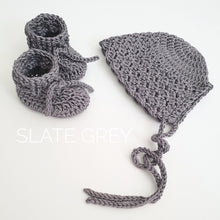 Load image into Gallery viewer, slate-grey-baby-bonnet-and-booties