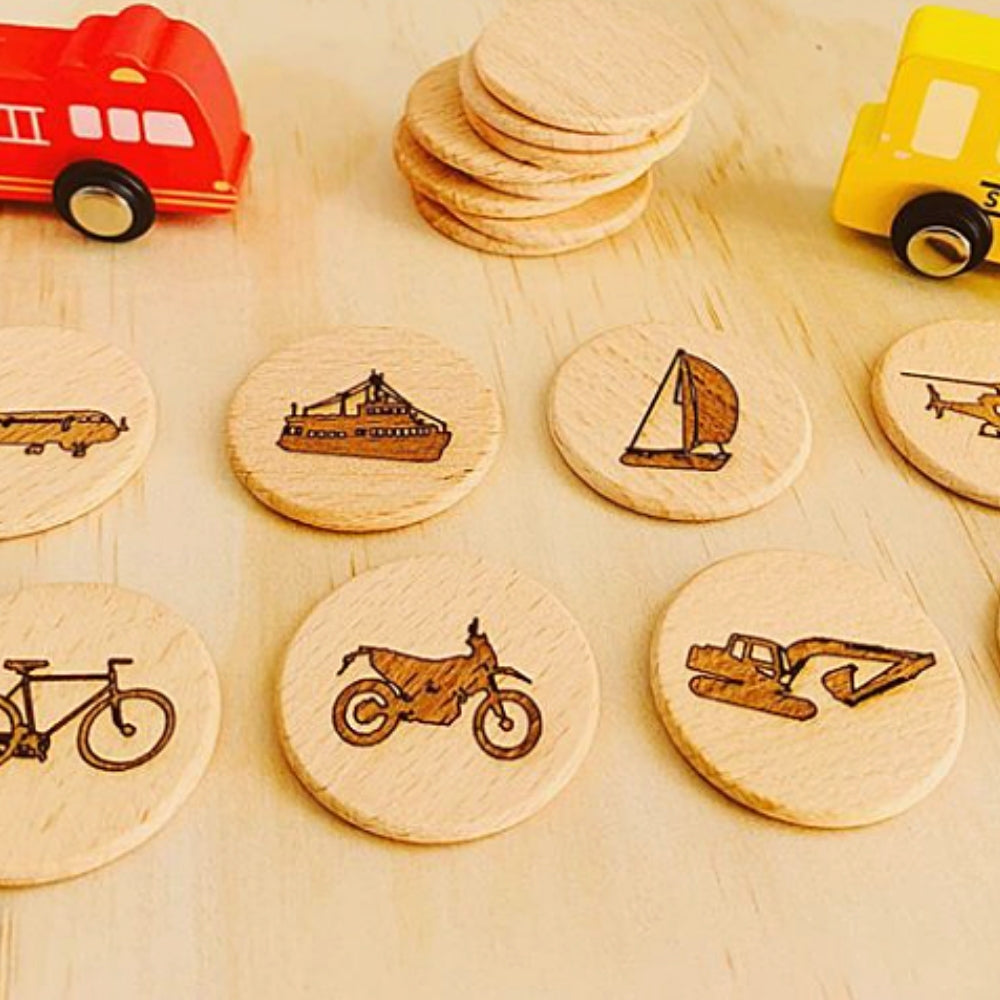 vehicles-wooden-disc-memory-game