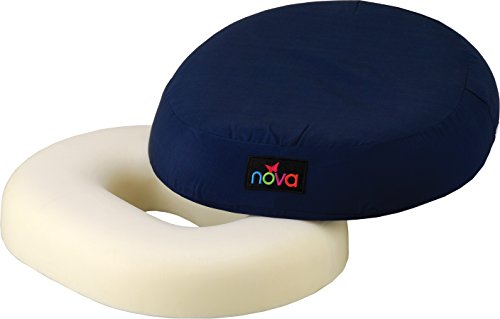 NOVA Donut Pillow Seat Cushion with High Density Molded Foam, Travel Ring Cushion, Removable & Washable Cover