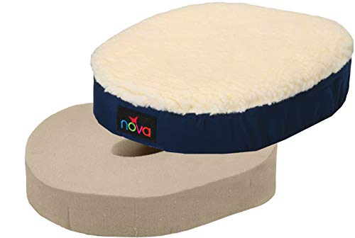 NOVA Donut Pillow Seat Cushion with Fleece Sheepskin Surface, Travel Ring Cushion, Removable and Washable Fleece Cover