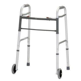 Silver Folding Walker with 5″ Wheels 2 Button