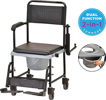 Drop Arm (for Easy User Transfer) Transport Chair Commode