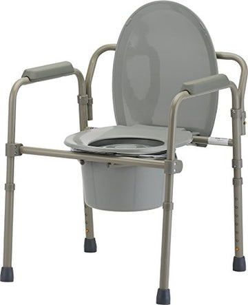 NOVA Folding Commode, Over Toilet and Bedside Commode, Comes with Splash Guard/Bucket/Lid