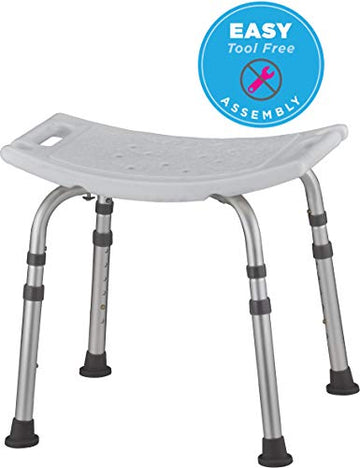 Shower & Bath Chair, Quick & Easy Tools Free Assembly