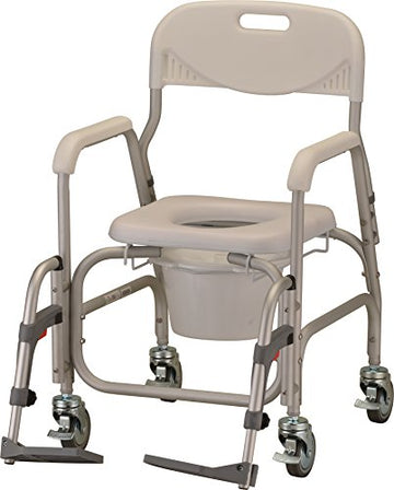 Rolling Shower Commode Chair with Locking Wheels and Removable Footrests