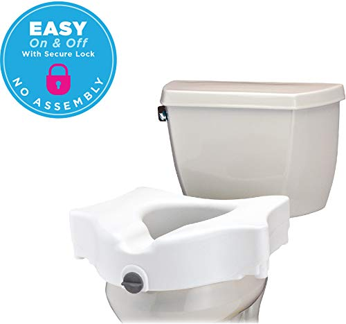 NOVA Elevated Raised Toilet Seat, Locking Easy On and Off, for Standard and Elongated Toilets