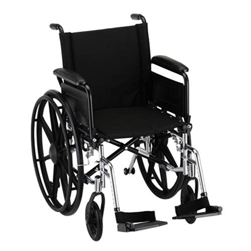 "Nova MedicalProducts Healthcare 18"" Lightweight Wheelchair with Full Arms and Footrests"