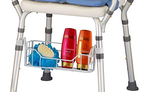 Shower Chair Basket Accessory, Shampoo & Soap Holder, Universal Fit