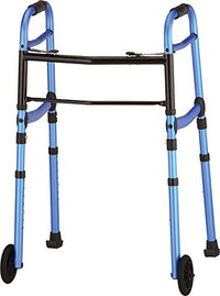 NOVA Medical Products Travel Folding Walker with Wheels, Glide Skis and Mobility Bag, Blue, 7 Pound
