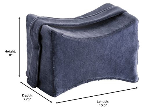 NOVA Memory Foam Knee Pillow with Positioning Strap, Cushion Memory Foam Leg Pillow with Soft Velour Breathable Removable & Washable Cover
