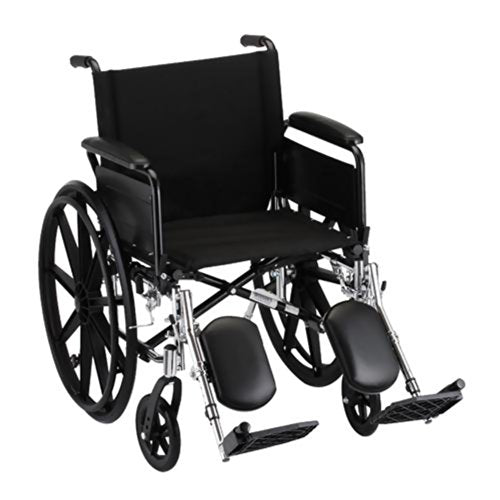 "GO! Mobility Lightweight Wheelchair Seat Size: 20"" W, Arm Type: Full Arms, Front Rigging: Elevating Leg Rests"