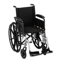"Nova MedicalProducts Healthcare 16"" Lightweight Wheelchair with Full Arms and Footrests"