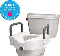 NOVA Elevated Raised Toilet Seat with Removable, Padded Handles, Locking Easy On and Off, for Standard and Elongated Toilet Lifter