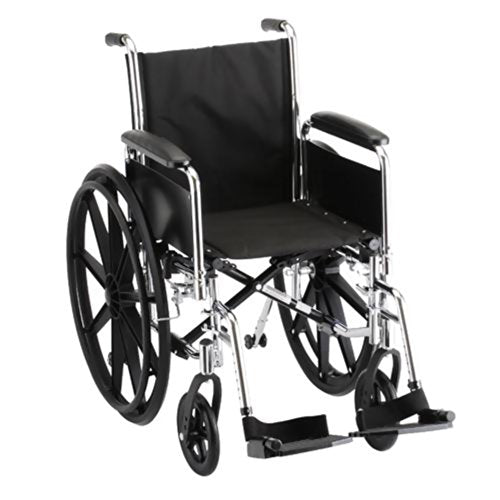 "Steel Standard Wheelchair Arm Type: Full Arms, Seat Size: 21"" W, Front Rigging: Footrests"
