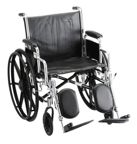 "Steel Standard Wheelchair Front Rigging: Elevating Leg Rests, Arm Type: Detachable Desk Arms, Seat Size: 21"" W"