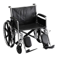 "Steel Standard Wheelchair Front Rigging: Elevating Leg Rests, Arm Type: Detachable Full Arms, Seat Size: 25"" W"