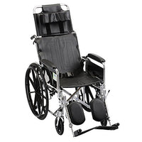 "Nova Medical 18"" Recliner Wheelchair - Full Arms and Elevating Legrest - 6180S"