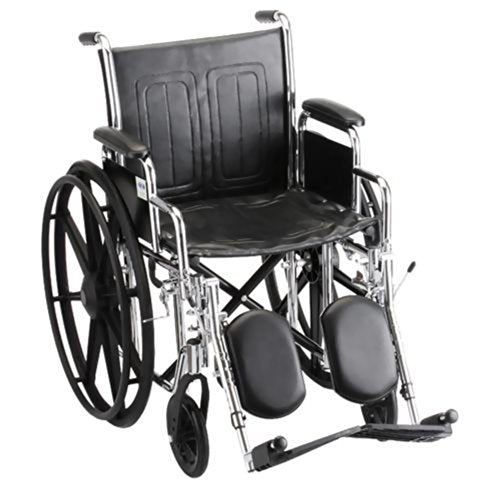 "Steel Standard Wheelchair Front Rigging: Elevating Leg Rests, Seat Size: 19"" W, Arm Type: Detachable Desk Arms"