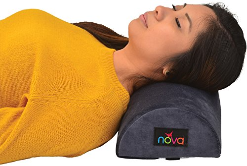 NOVA Extra Long Pillow for Neck, Back & Under Leg with Half Roll Firm Support with Attachment Strap, Removable & Washable Cover