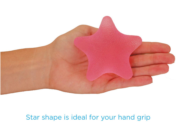 NOVA Hand Exerciser Star, Hand Grip Squeeze Star for Strength, Stress and Recovery, Comes in 3 Resistance Levels - Pink Soft